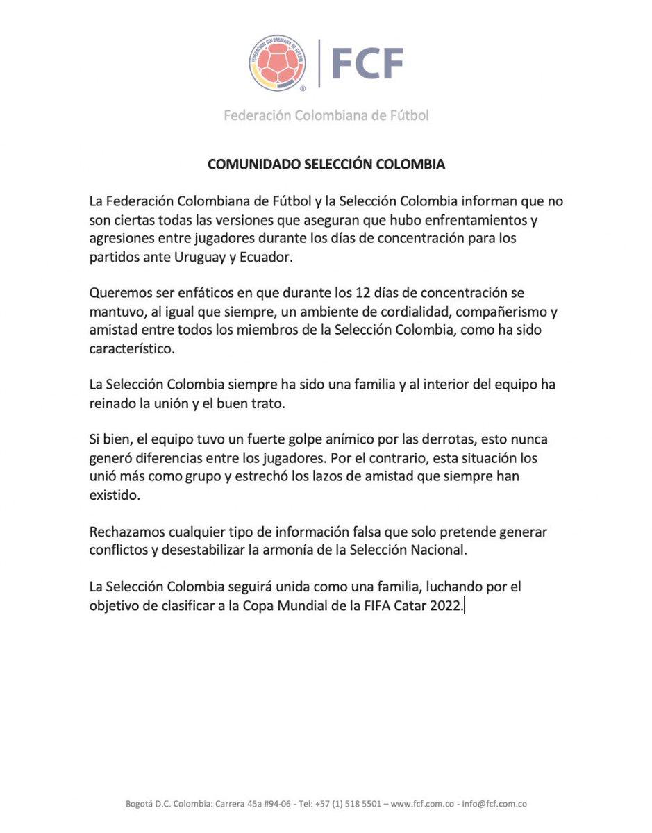 Comunicado Selección Colombia  #VamosColombia