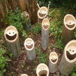 可愛いお顔がいっぱい?竹の切り口から笑い声が聞こえてきそう!