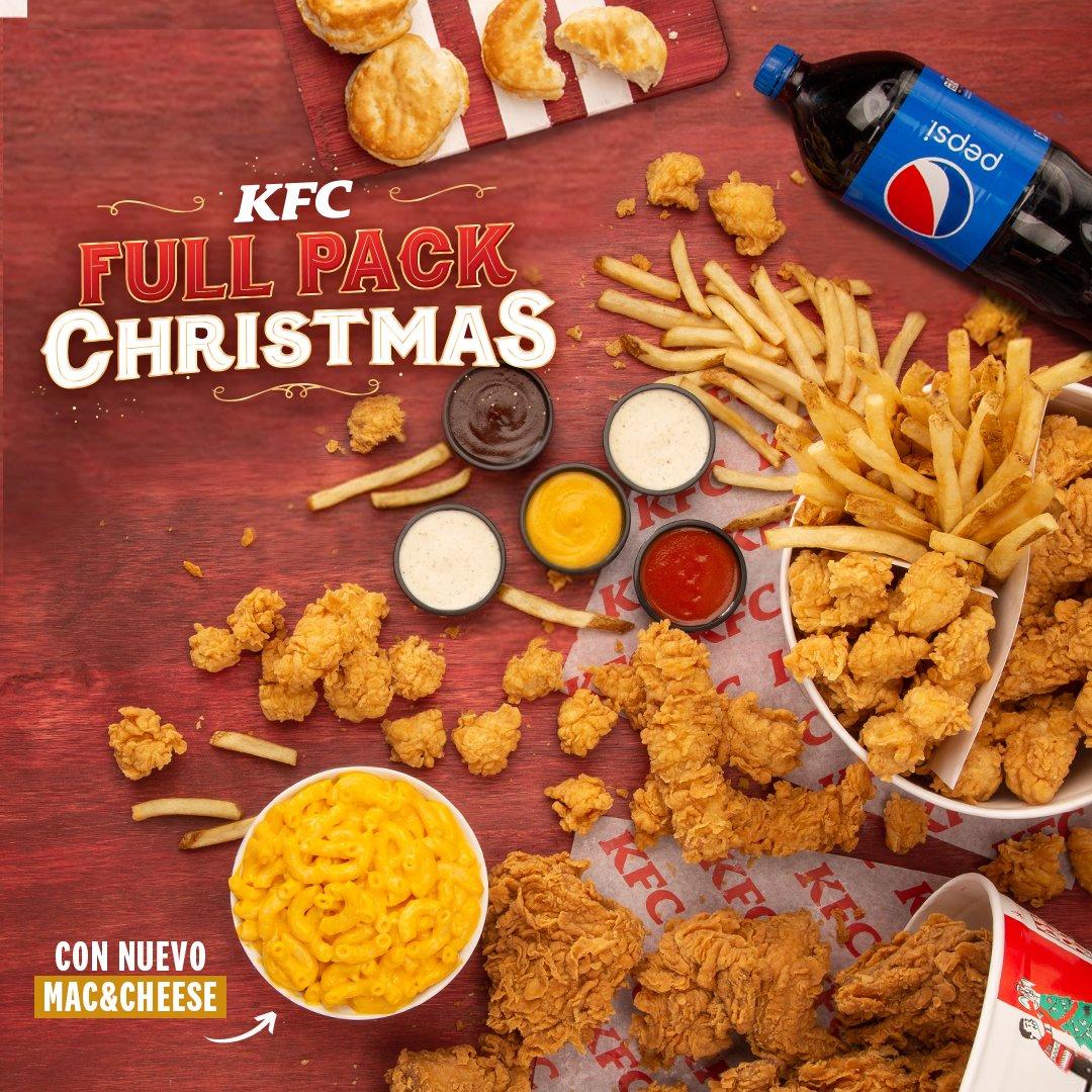 En KFC ya vivimos la temporada navideña a FULL 🎉 disfruta tu nuevo Full Pack Christmas 🤤 que incluye un Bucket de 6 piezas, un Dipping Bucket, el nuevo Mac & Cheese familiar, 3 Biscuits y 1.5 lts. de Soda por $29.99. https://t.co/BjykHKzEn2