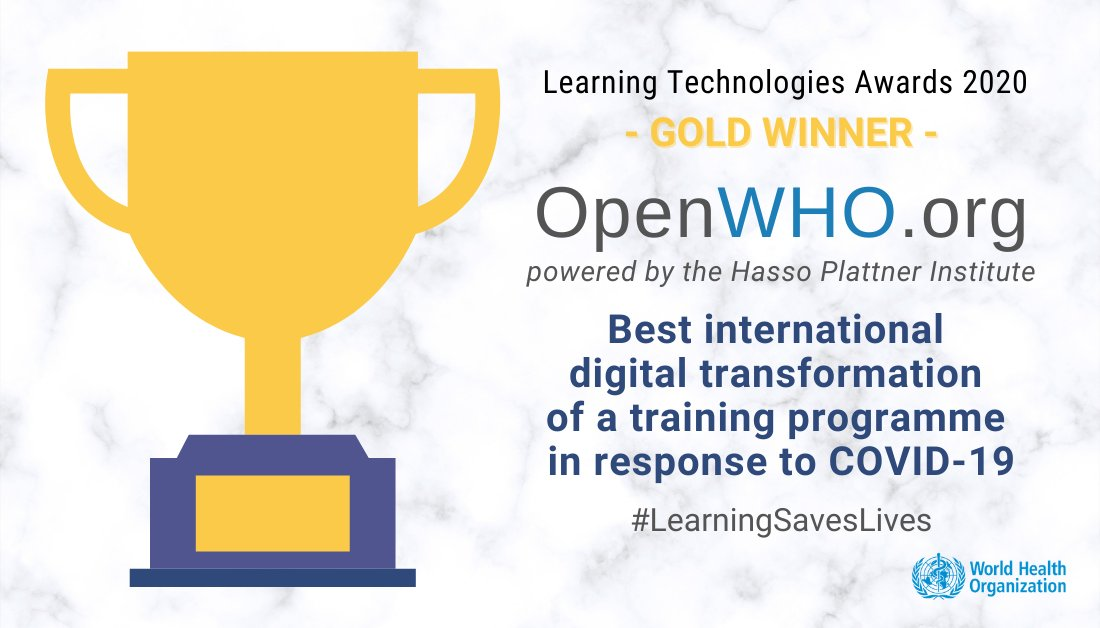 At the @LTAwards, #OpenWHO is awarded Gold Winner 🏆 for the Best international digital transformation of a training programme in response to #COVID19.   Join the free platform offering online courses to improve the response to health emergencies: 👉 https://t.co/RjHSBkVjlH https://t.co/ERoXPH6rQs