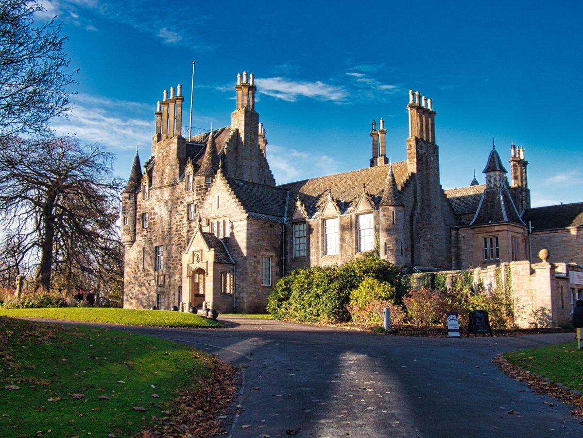 Lauriston Castle spotlighted by the low Autumn sunshine #LauristonCastle #CastlesofScotland #autumnvibes #historic  #Edinburgh