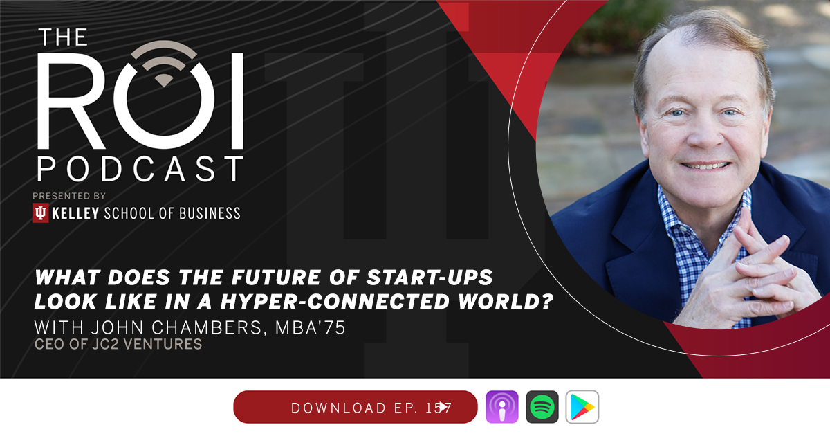 On this week's #ROIPodcast, we're discussing start-ups, economic future, and job creating with John Chambers, MBA'75, CEO of @JC2Ventures.  Listen online at: https://t.co/2nvay6SuCP.  #innovation #entrepreneurship #startups https://t.co/7khCBtdgWx