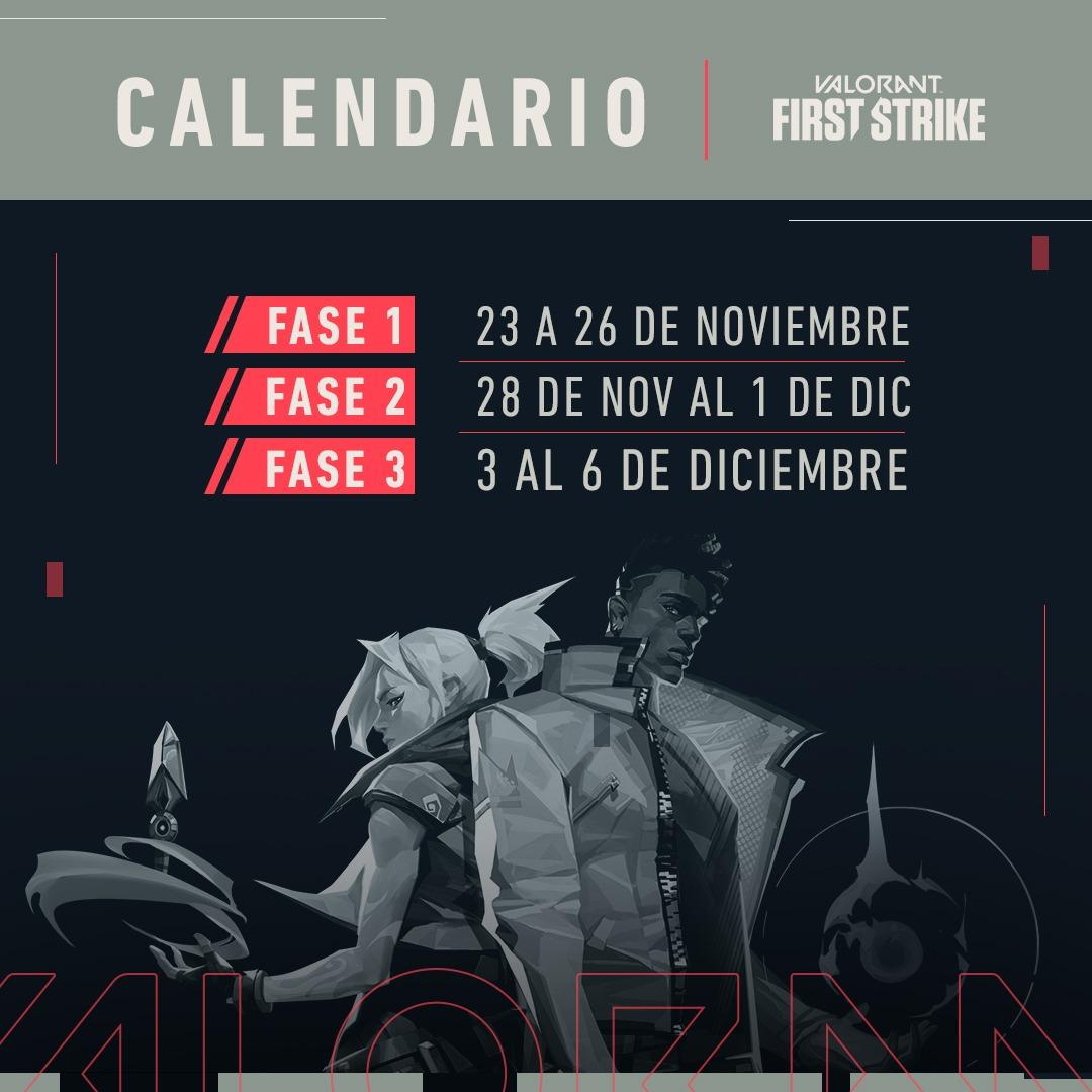 "VALORANT on Twitter: ""¡Conoce las fechas de competencia de First Strike! Ve  marcando estas fechas en tu calendario, porque #FirstStrike nos llenará de  emoción hasta diciembre.… https://t.co/HHfGRye9bg"""