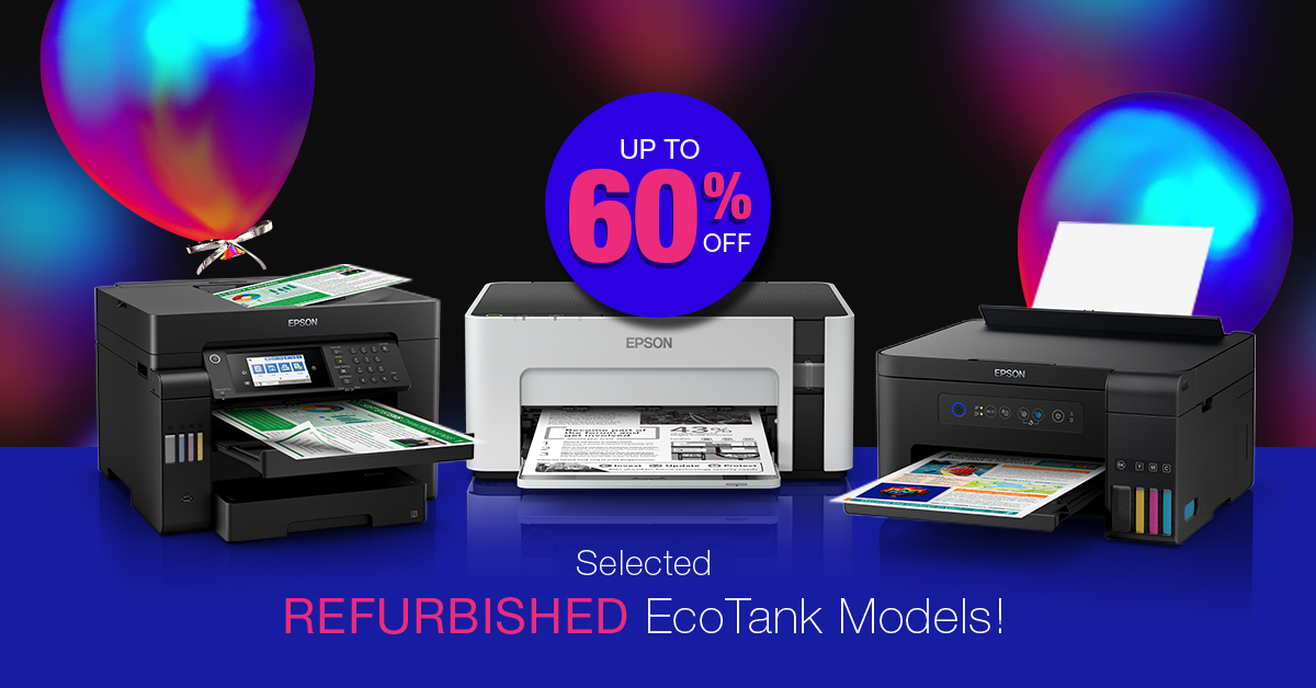 BLACK FRIDAY/CYBER MONDAY madness starts now! Up to 60% off selected quality refurbished EcoTank printers! Offering CARTRIDGE-FREE, low cost printing with 6 months warranty!  Hurry! Ends 30th Nov!  #epson #printer #refurbished #ecotank #epsonaustralia