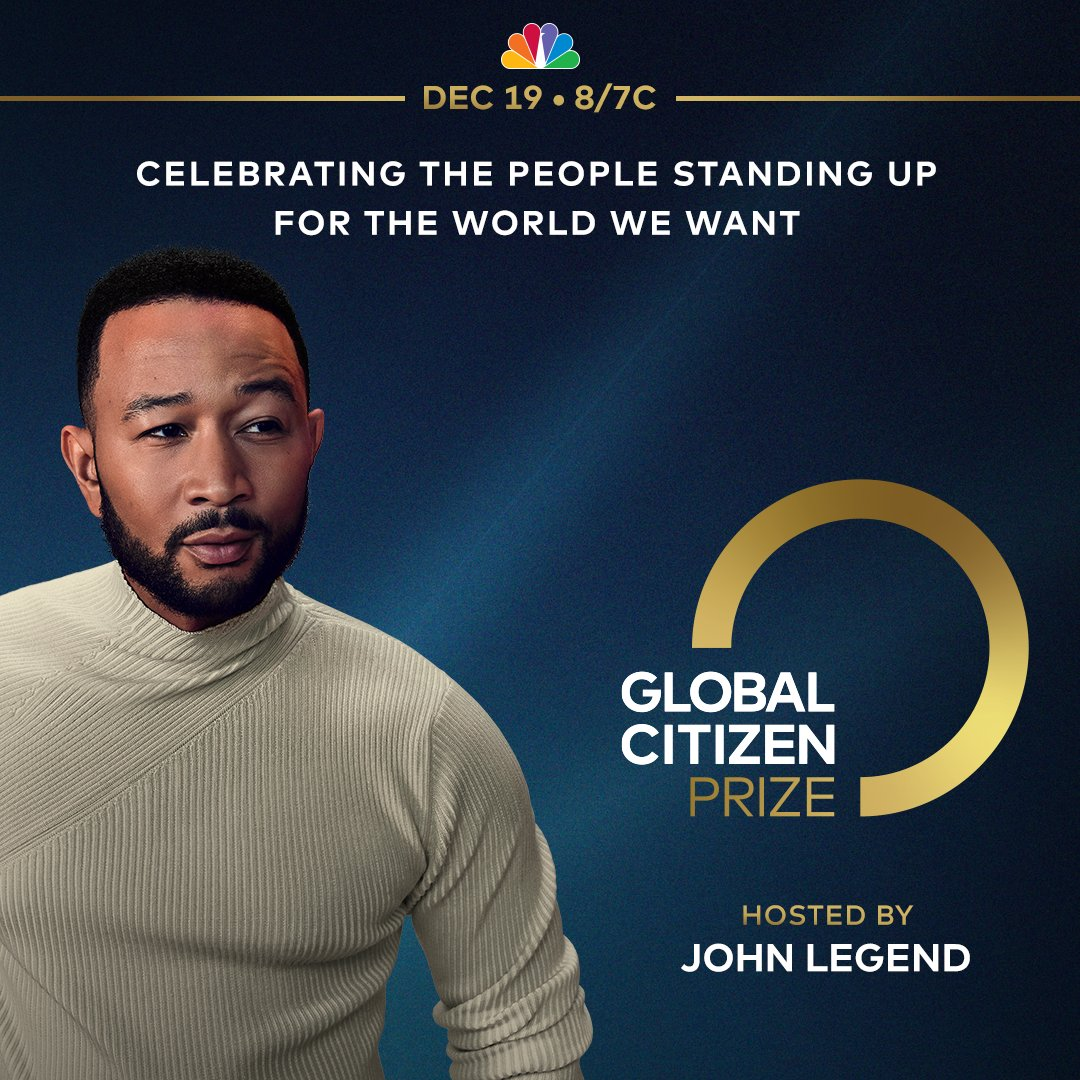 On Dec 19, I'm hosting the Global Citizen Prize award show for the second straight year! With @glblctzn, we will honor the young activists, world leaders, and Global Citizens taking action to build a better, more equal world. Learn more about #GCPrize: