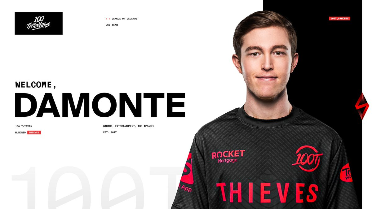 kyzui - IT'S TANNER TIME.   Welcome @Damonte to 100 Thieves as our starting mid-laner for the 2021 LCS season! #100T