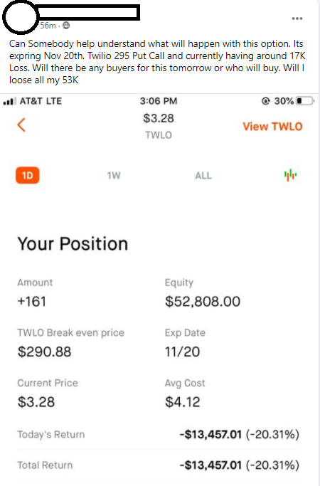 Twilio trader loses $66,000 in one option trade.