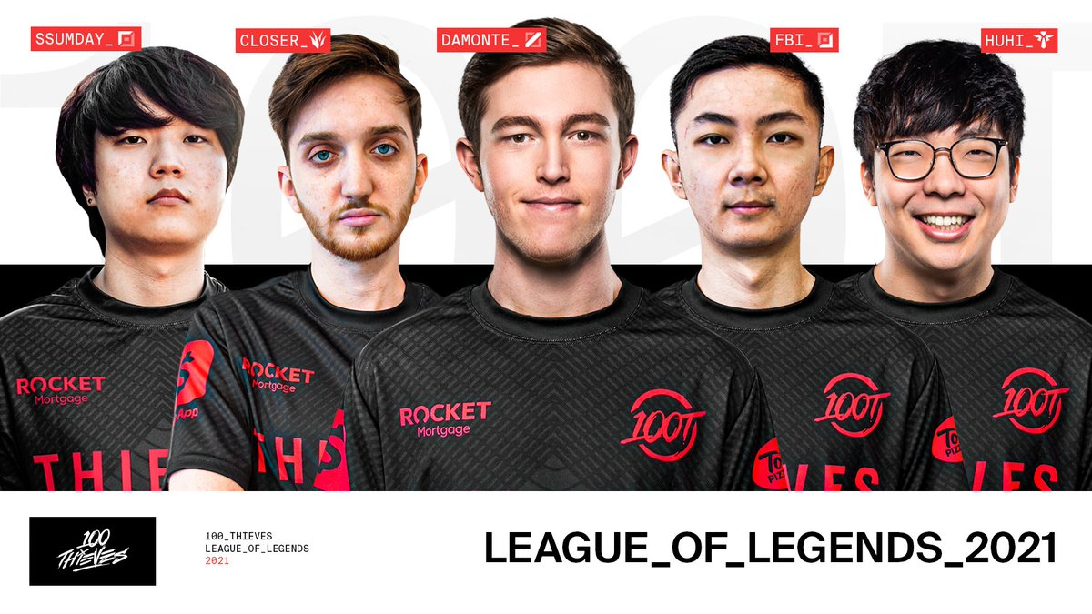 Our roster for the 2021 League of Legends Championship Series: Top: @Ssumday Jungle: @closerlol Mid: @Damonte ADC: @VictorHuang Support: @huhi Time to get to work. See you on the Rift! #100T #LCS
