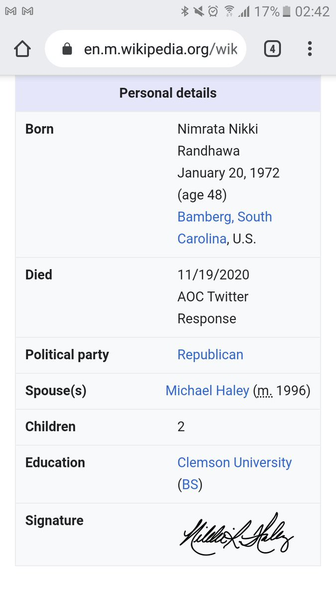This is hilarious 😂😂😂😂 who did Nikki Haley's wiki like this 😂😂😂 https://t.co/CZJcopkrp4