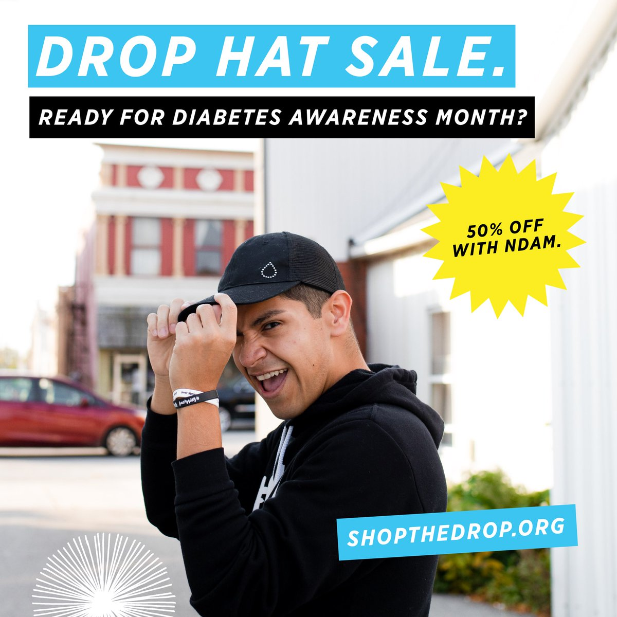 """Rocking the Drop hat on social media is one of the quickest ways to participate in #TheDropSpotted during #NDAM! If you still need to gear up, use code """"NDAM"""" at checkout for 50% off! Shop the drop here  👉"""