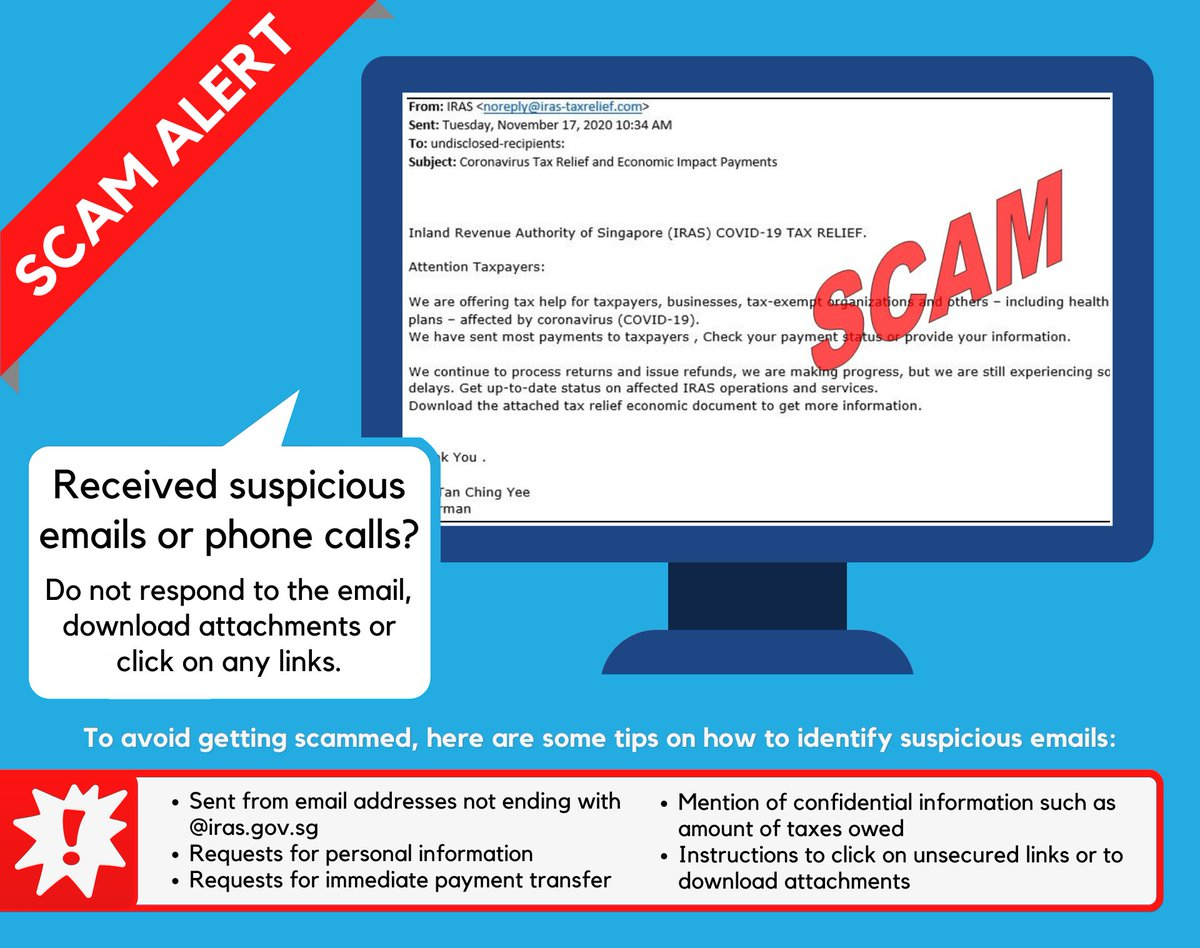 Iras On Twitter Scam Alert Beware Of A Scam Email Titled Coronavirus Tax Relief And Economic Impact Payments The Recipients Were Requested To Check Their Payment Status And Download A Document
