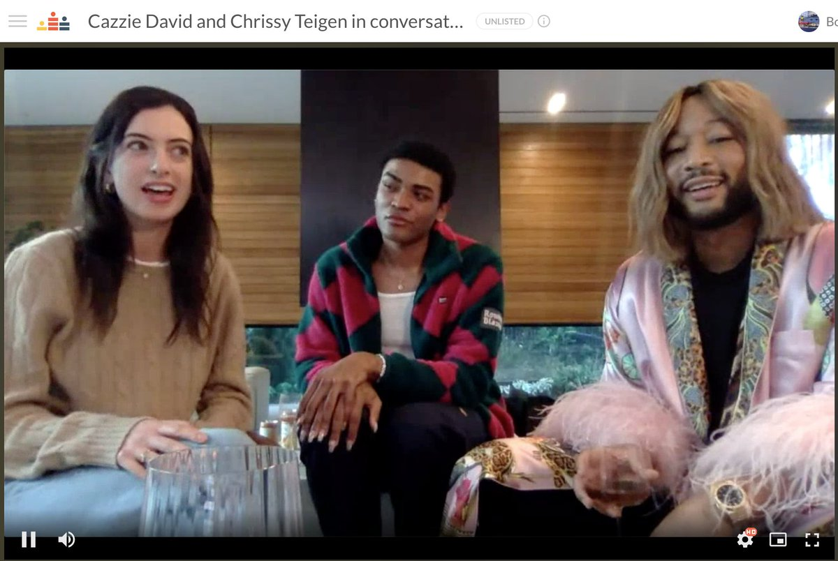 """Happening now! Cazzie David is speaking with """"Chrissy Teigen"""" live for @BookSoup, coming to us live from @chrissyteigen & @johnlegend's beautiful home: talking #NoOneAskedforThis"""
