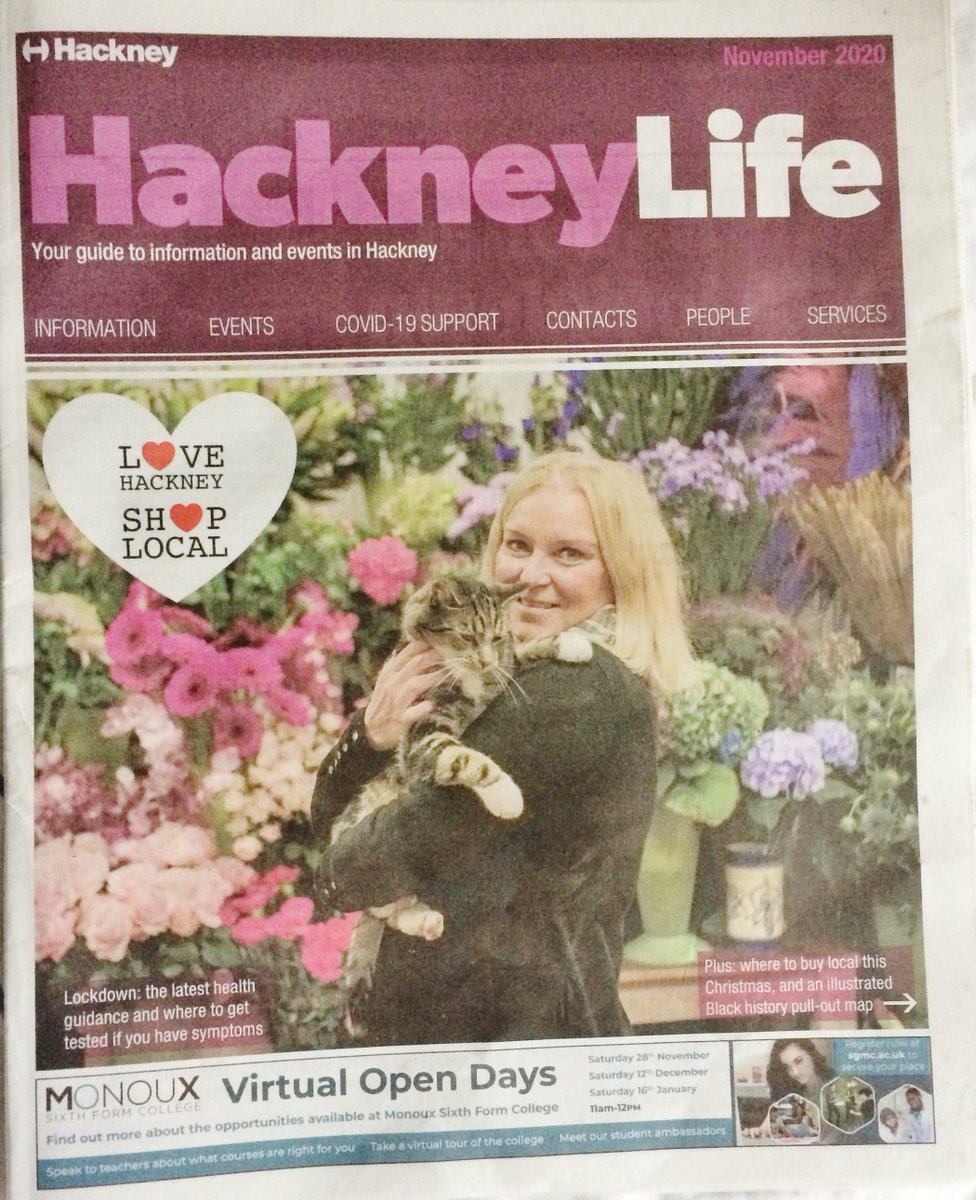 Well, look who it isn't on the cover of this week's Hackney Life newspaper through the doors - why it's Stan the cat!! Oh ... and Jo Price, well-known Well St Market florist  @WellStShopping @NuDawnLDN @Rekindled212 @chrismylesk #E9 #florist @Agpriceflorist @hackneycouncil https://t.co/CUutd0NC5r