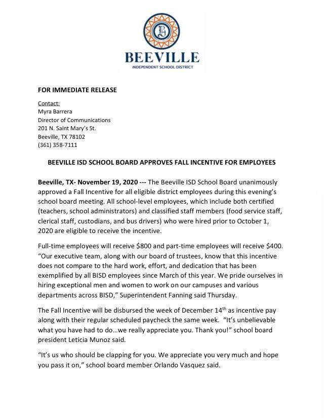 Beeville ISD (@BeevilleISD) on Twitter photo 20/11/2020 00:57:19
