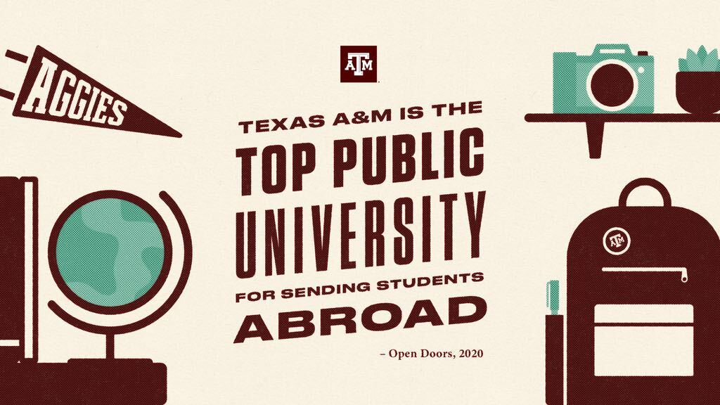 Graphic saying Texas A&M is the TOP PUBLIC UNIVERSITY for sending students abroad by Open Doors, 2020