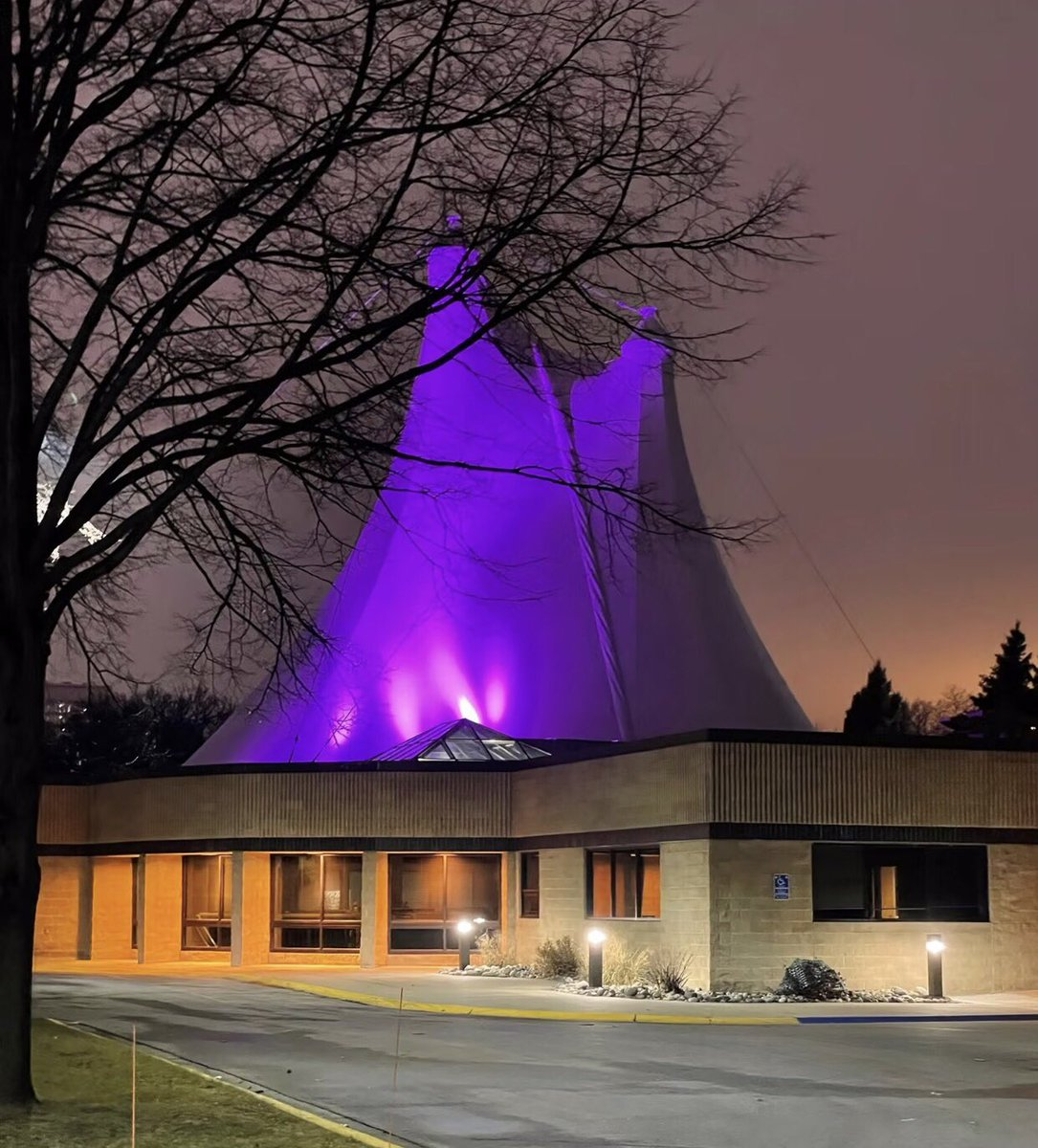 Dozens of landmarks across MN are going purple to honor lives lost to #COVID19 The Hjemkomst Center in Moorhead is doing its part to respect those who passed.
