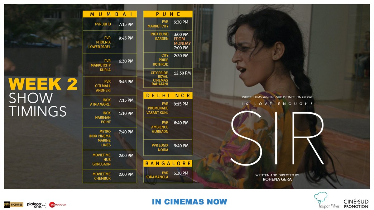 #SIRTheFilm enters Week 2 in cinemas in Mumbai, Delhi NCR, Pune and Bangalore from today. Spread the word, and experience this much loved film on the big screen with all safety protocols.   Book Tickets: