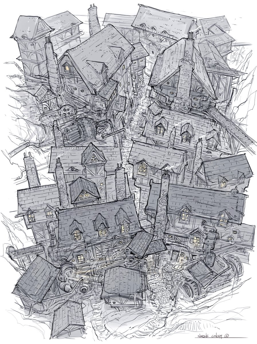 Drawings from episode 108 of Design Cinema. Re-design of the mining town, Narshe, from Final Fantasy VI.