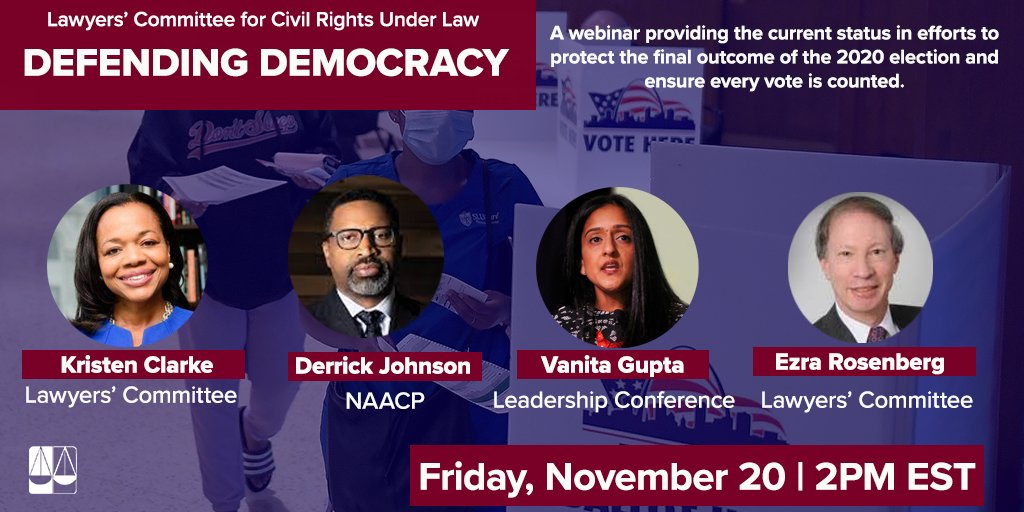 Join us for a brief overview of the post-election attempts to challenge the #2020election. Friday (11/20) at 2pm ET. Together we are fighting for one basic principle underlying our democracy - #CountEveryVote.  RSVP Here: