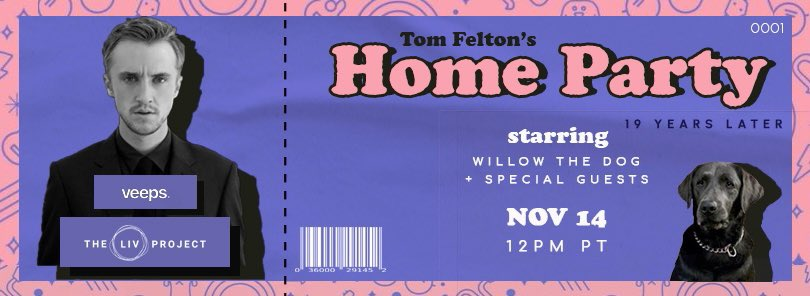 Hii! @TomFelton i kinda did something for the home party (i'm kinda late sorry 😅) but here you go! It's like a ticket to keep as a memory :). I love youuu! #TomFeltonsHomeParty #19yearslater
