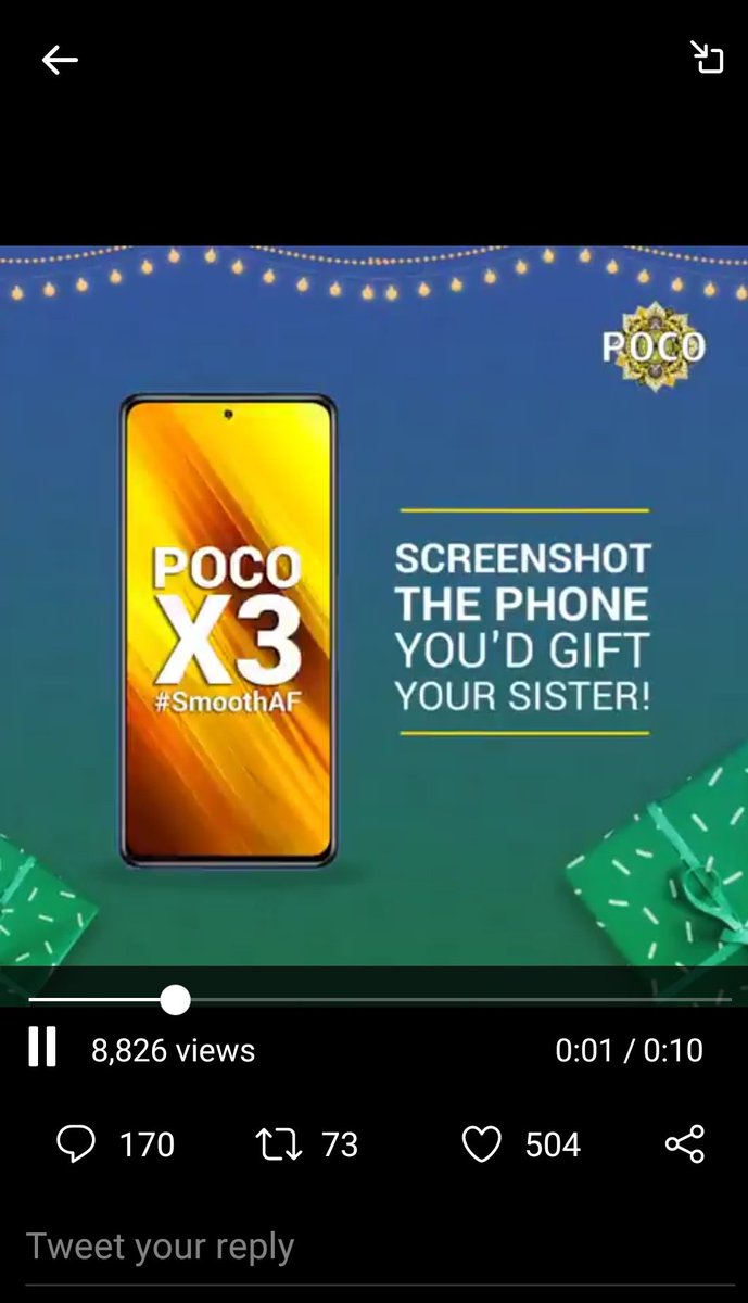 @IndiaPOCO I want to gift this phone to my sis Pls Sir Give me this Phone #Pcocox3  #happybhaidooj  #HappyDiwali2020  #Poco