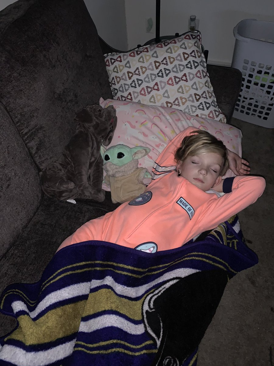 The 8 year old has to quarantine until 11/30 and she already has claimed my fall asleep spot on the couch. #QuarantineLife #singledadlife #couchparty