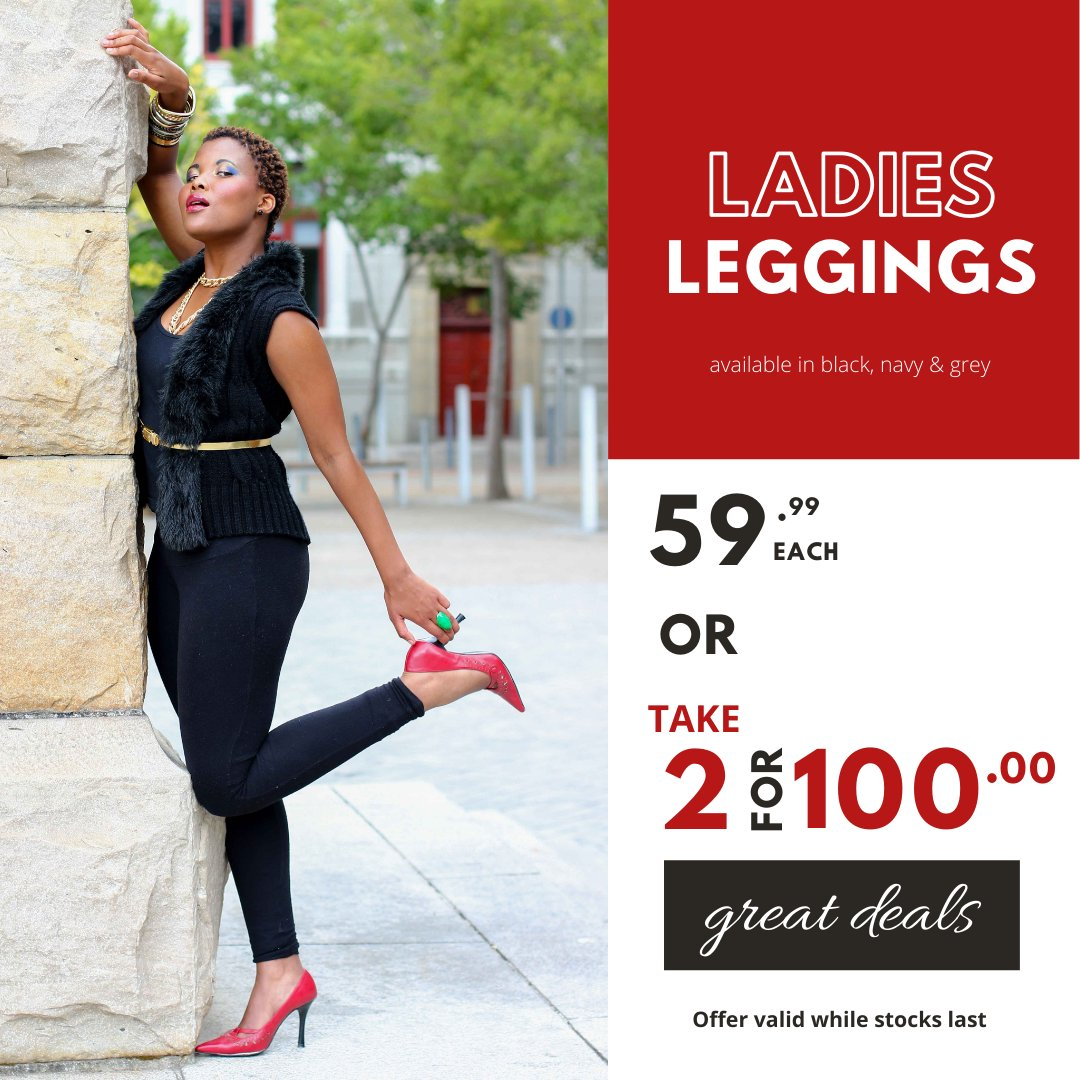 Who said legwork has to be hard work... Take it easy in our Ladies Leggings 59.99 each or TAKE 2 for R100 #choiceclothing #wearchoice #ladiesleggings #ladies
