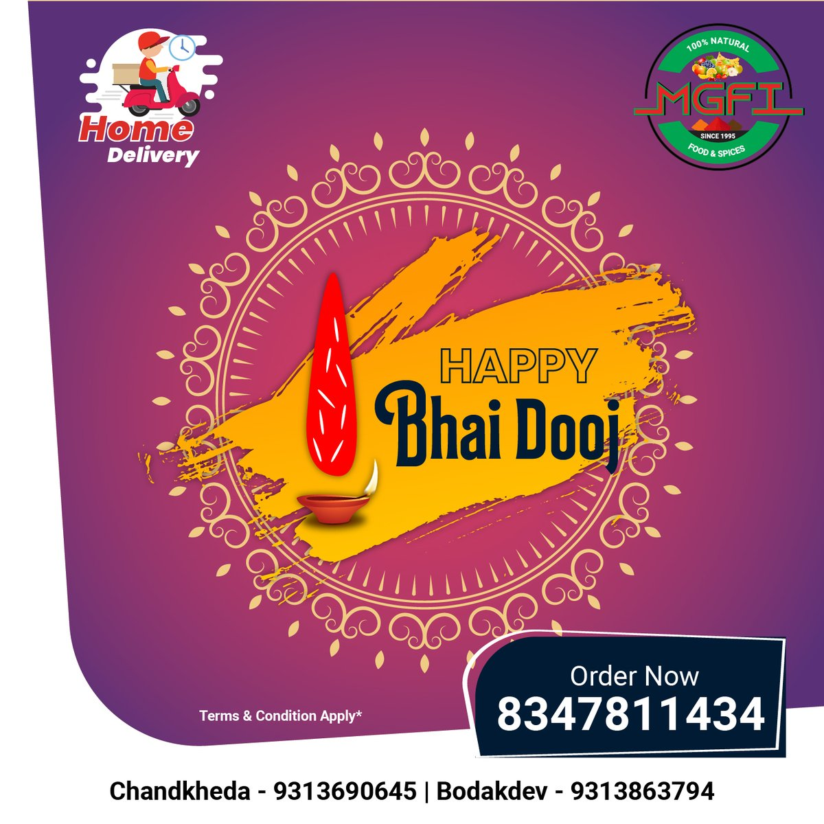 Bhai Dooj is festival of prayers from sister to brother, brother's protection for her sister. May this year we all celebrate it with even more love and protection for our sisters and brothers. Best wishes on this Bhai Dooj. . . . . . #HappyBhaiDooj #BhaiDooj2020 #MGFIFoods