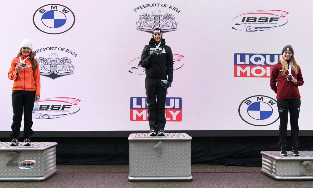 #BMWIBSF World Cup #Sig20_1 in #Sigulda: #Skeleton athlete Janine Flock🇦🇹 first World Cup winner in winter 2020-2021! · Kimberley Bos🇳🇱 second ahead of debutant Endija Terauda🇱🇻  >>> https://t.co/RiBXSwcIx6 <<<  📷 https://t.co/TgUdfdf3Ew https://t.co/p8lmSuVrEB