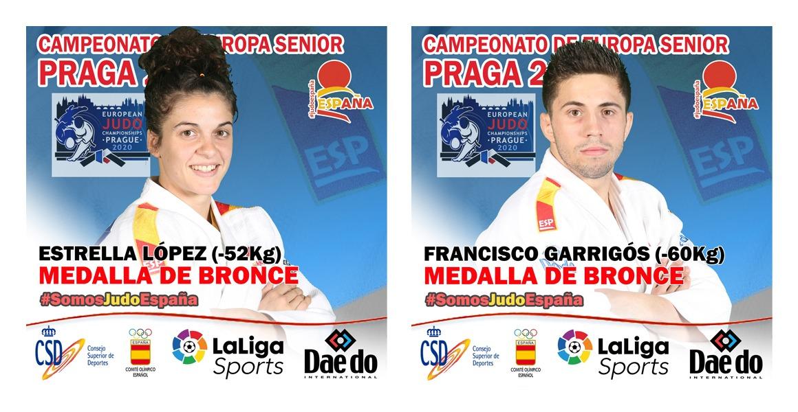La @rfejyda logra sus dos primeras medallas en el #Europeo #Praga2021 con los Bronces de @FGarrigosPodium y  @estrellajudo . #SomosEspaña #SomosJudo