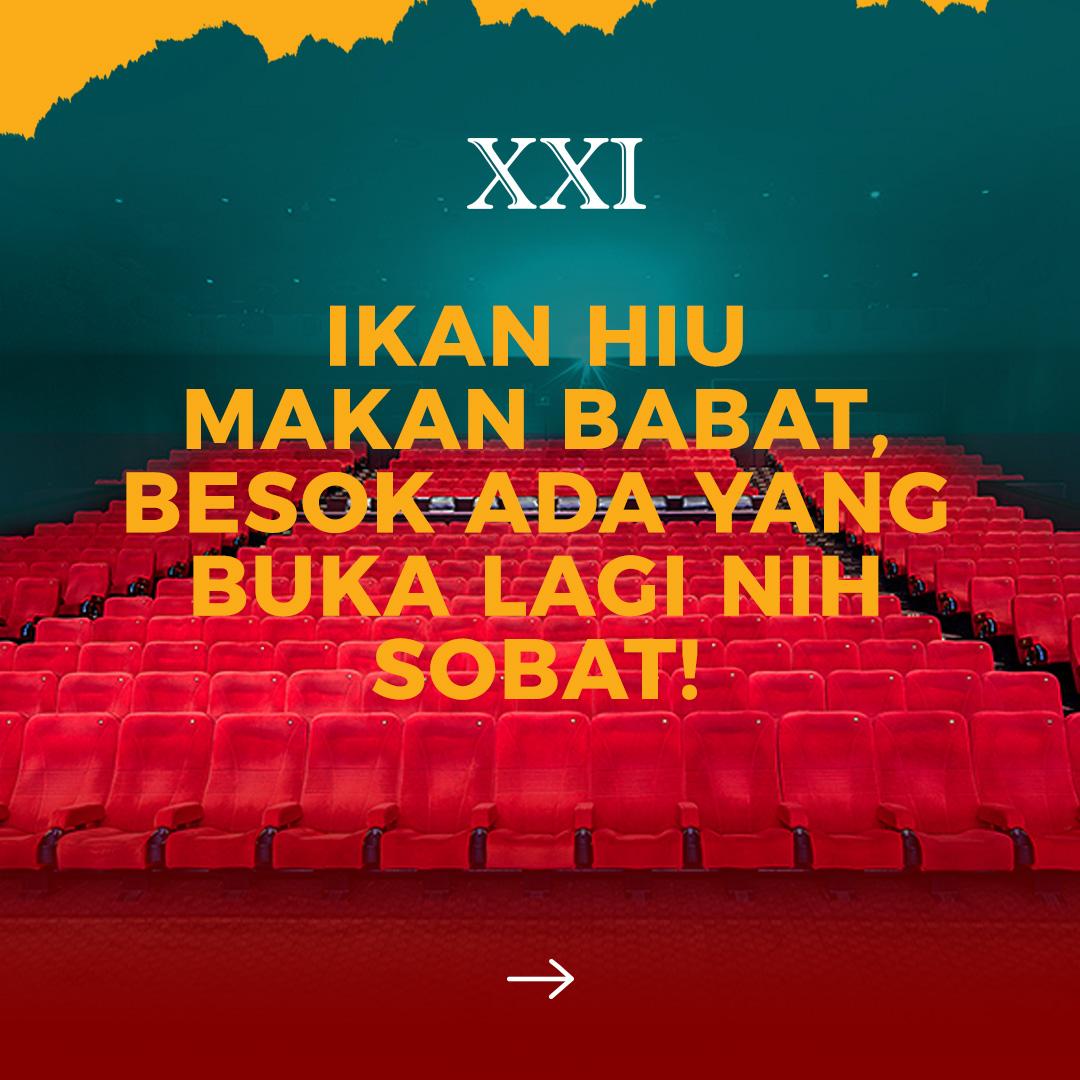 Mulai besok ada yang buka lagi nih Sobat XXI, udah siap buat nonton lagi, ya?  Ayo Sobat XXI coba geser ke slie kedua dan ketiga buat tau lokasi Cinema XXI yang akan beroperasi kembali mulai besok!  #RinduNontondiXXI  #ASIKnyakeBioskop