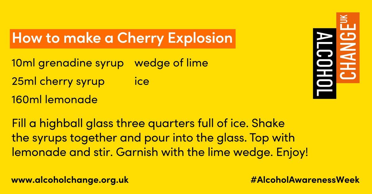 Just in time for the weekend and the end of #AlcoholAwarenessWeek, here are some tasty mocktail recipes 😍send us some pictures if you try any of them. If you do need any support or help, please visit https://t.co/F5DZyACWoZ