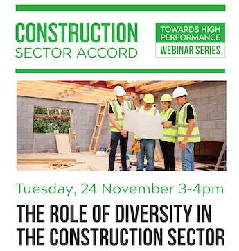 The Construction Sector Accord is partnering with Diversity Works New Zealand, the national body for workplace diversity and inclusion, on this free webinar. Register here https://t.co/mxuknsdWU0  #constructionsector #diversityandinclusion #webinarseries #freeevents https://t.co/t6rtLzItR7