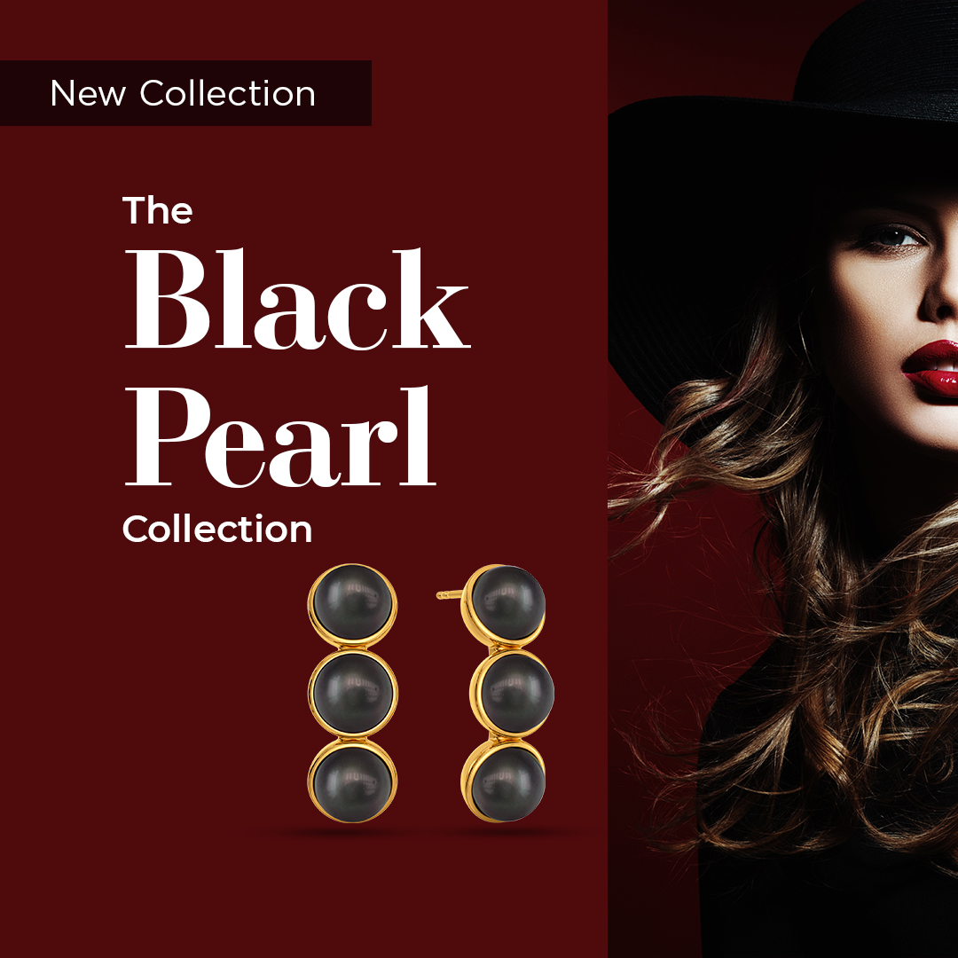 Introducing #NewCollection - The Black Pearl Collection!  Inspired by the all-over black look, here's a range in gold with Black pearls. Gear-up to flaunt the perfect party vibe >   #Melorra #EverydayFineJewellery #BlackPearl #Collection  #AW20 #ShopOnline