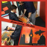 We used screen printing methods to create a #WW2 painting recreating the Blitz. #art #history #blitz @ISAartsUK #prepschool #newmalden #creative