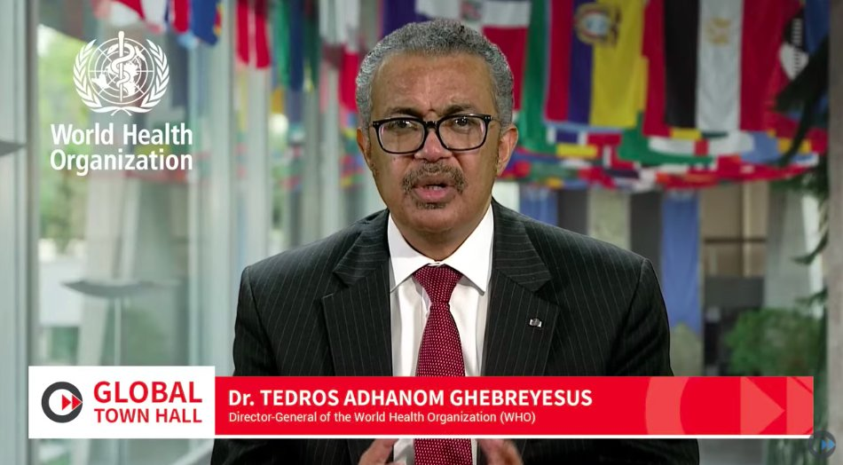 Director-General of the @WHO, @DrTedros, delivers his keynote speech at the Global Town Hall. #GTH2020
