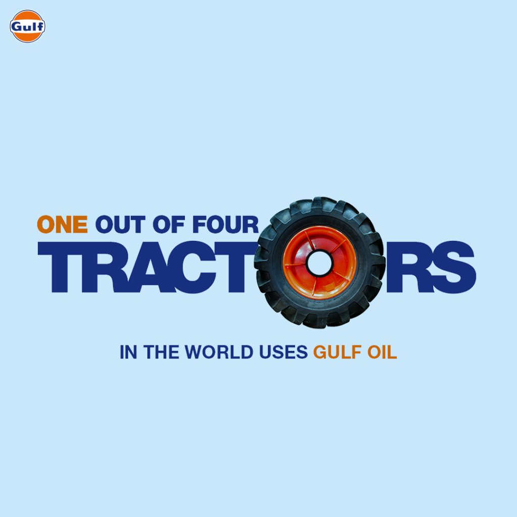 1️⃣/4️⃣th of the world's tractors trust Gulf. What about yours?  Did you know? Our products are innovatively designed to meet the business needs of agricultural sector and to provide practical solutions.  #GulfOilInternational #GulfOil #GulfOilAgriculture #GulfAgro