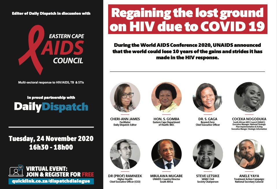 "REMINDER to engage on preventative measures we all can work on so we don't loose the gains made in HIV response, due to #COVID19.  @SA_AIDSCOUNCIL Chair @msletsike, at 16h30 in conversation on ""Regaining the lost ground on HIV due to #COVID19   REGISTER: https://t.co/gHcum8cLYU https://t.co/5DnDmWcoqC"