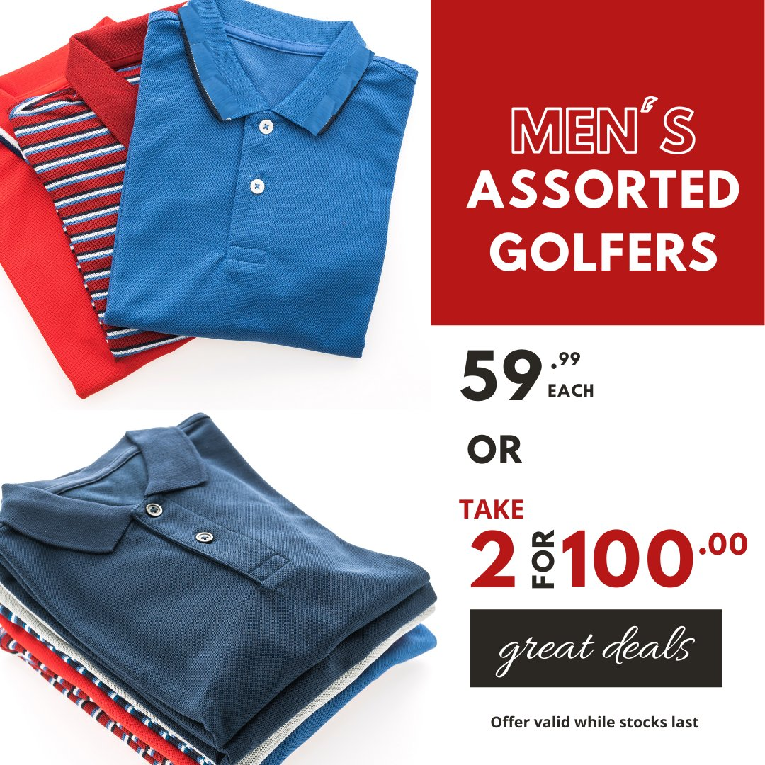 A steal of a deal... Men's Assorted Golfers 59.99 or TAKE 2 FOR  R100 #choiceclothing #wearchoice #mensgolfers