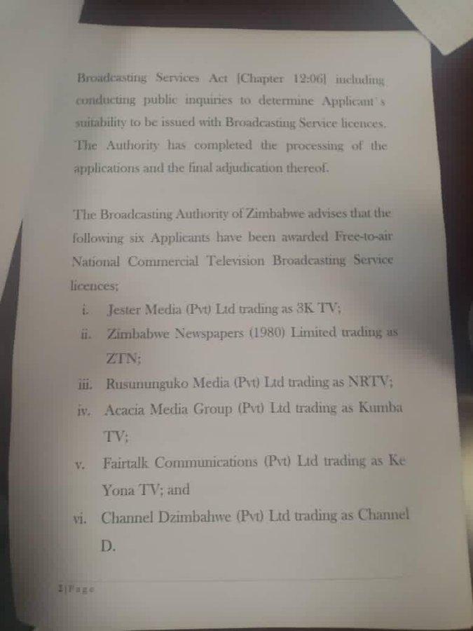 Broadcasting authority of zimbabwe