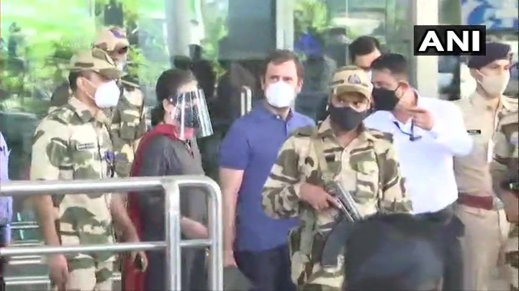 Goa: Congress interim president Sonia Gandhi and her son and party leader Rahul Gandhi arrive in Panaji.   Doctors had earlier advised Sonia Gandhi to spend time in a less polluted place: Sources