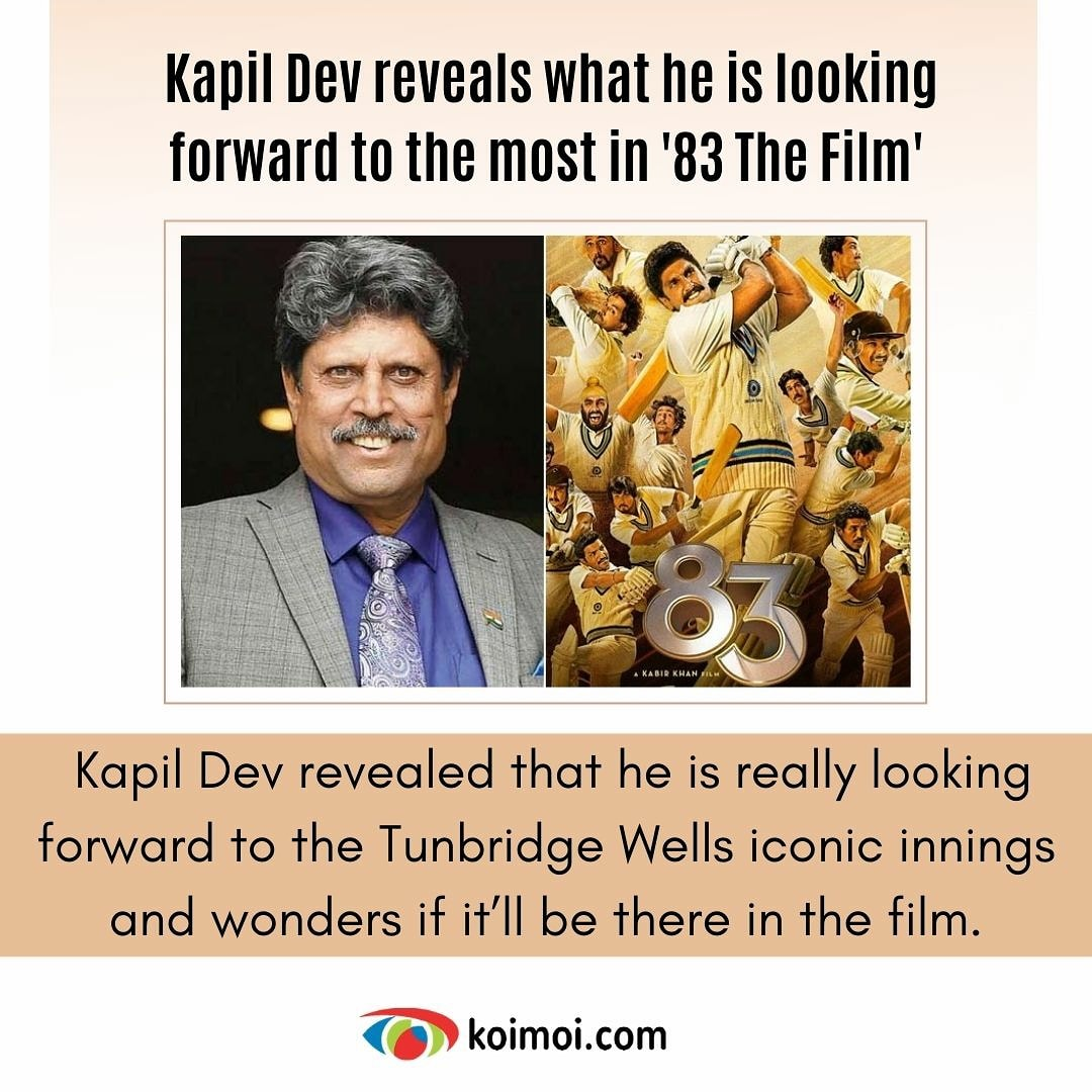 Wow!! We are absolutely excited about the film 😍 @83thefilm @therealkapildev #83thefilm #kapildev #kapilsdevils #thisis83 #relive83 #ranveersingh #Deepikapadukone
