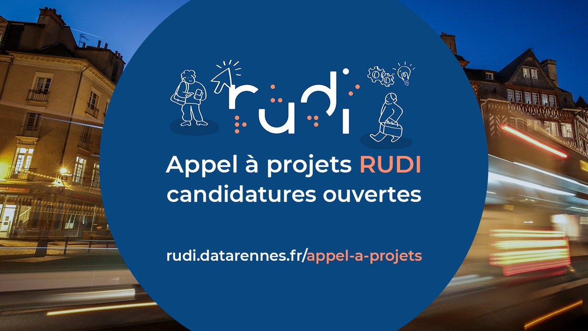 L'appel à projets RUDI est lancé ! 🚀 Candidatez dès aujourd'hui pour être accompagné dans la création et le développement de votre projet en lien avec les #données du territoire de #Rennes - Pour tout savoir sur l'#AAP 👇  https://t.co/bnUhwmgt7m https://t.co/k4eSkhgjNH