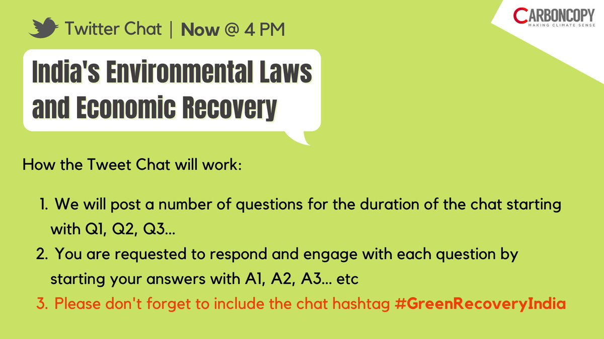 Please see this thread and contribute to the discussion when you can! The chat hashtag is #GreenRecoveryIndia   @kanchikohli @AnjalPrakash @MrinShin @aruna_sekhar