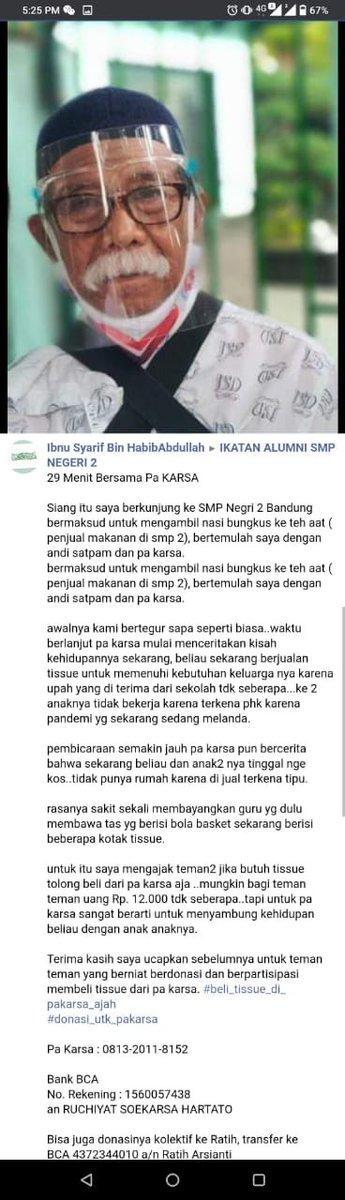 Replying to @Hadikobian: Buat alumni smp 2 barangkali ada yg mau bantu Pak Karsa.... 🙏