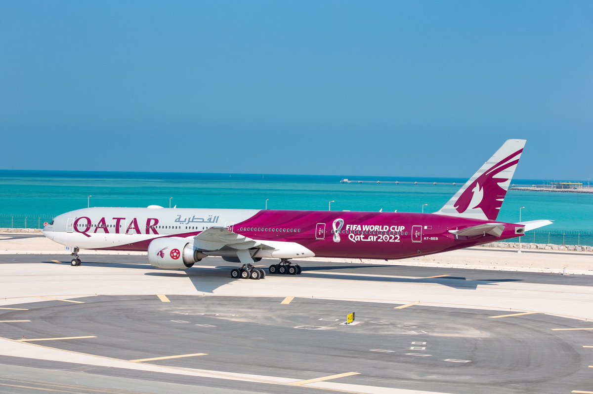 Here she is A7-BEB in all its glory. The first @FIFAWorldCup Qatar 2022 livery by @QatarAirways.  It will operate the first flight QR 095 to #Zurich the home of @FIFAcom. #SeeYouIn2022 #Qatar #QatarAirways #FIFA #FifaWorldCup2022 #WCQ #WorldCup