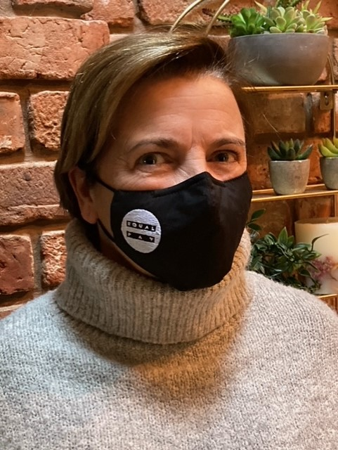 Our brilliant trustee Sam Walker in her #EqualPayDay mask. Share your pictures using the #EqualPay hashtag