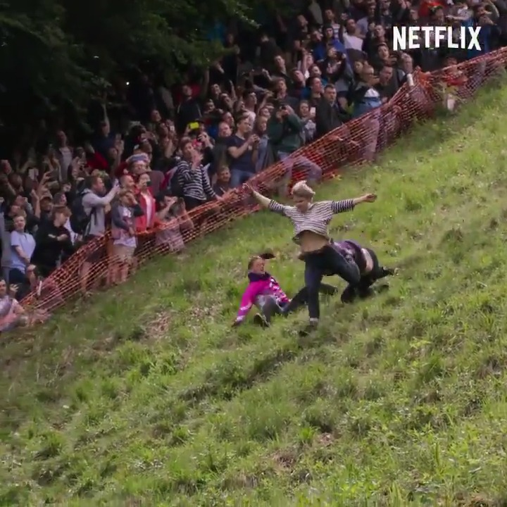 If you ever wanted to watch a bunch of people fall down a hill while chasing a wheel of cheese, do we have the documentary for you!  (📺: We Are The Champions)