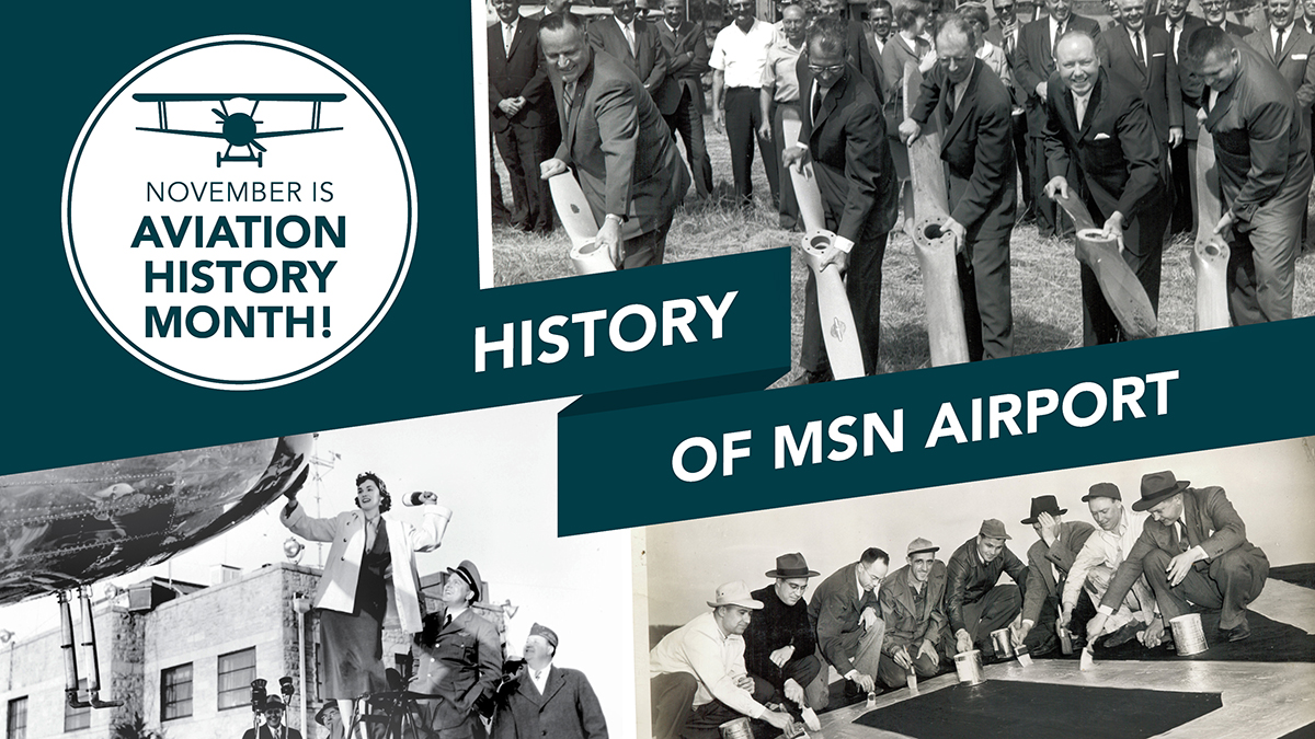 In observance of National Aviation History Month, here are some more of our favorite classic throwback photos of MSN Airport! Find more images of the airport throughout history on our Flickr page:      #aviationhistorymonth #aviation #MSNAirport #history