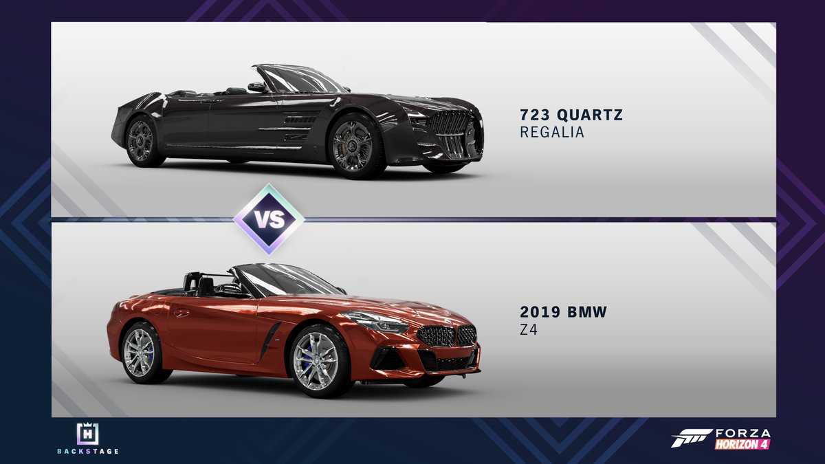 This week's poll in the Horizon Backstage pits a fantasy car against the Quartz Regalia! Head backstage to vote now! https://t.co/EJo6trGIxT